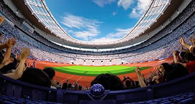 写真:プラネタリウムのスクリーンに映し出した東京2020大会コミュニティライブサイトのイメージ